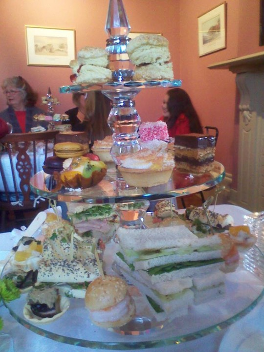 Crystal High Tea Stands laden with delicacies
