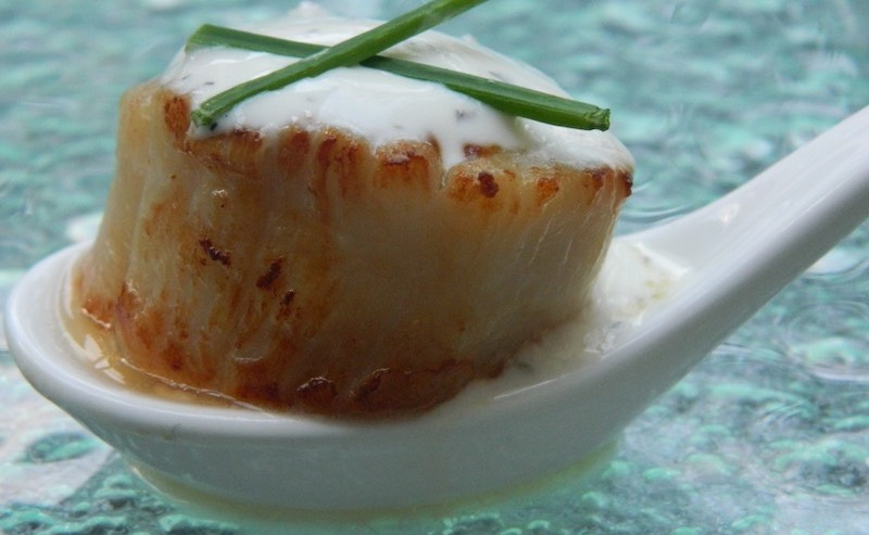 QUEEN SCALLOP WITH TZATZIKI & CHIVES