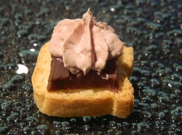 Smoked Vension on Crostini with Duck Liver Pate